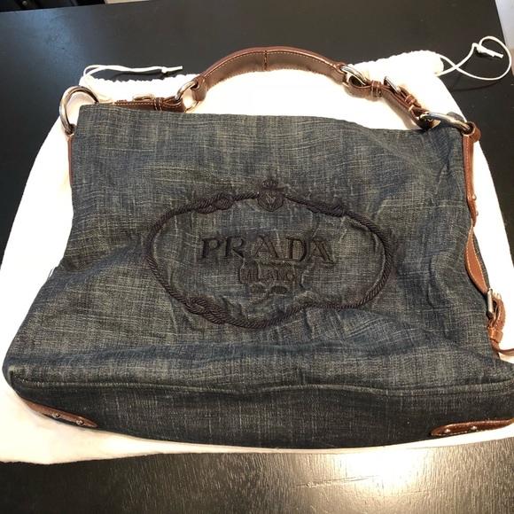 Prada Denim Shoulder Bag. M 5b3d1dadf63eea588de64405 5d8f38817f